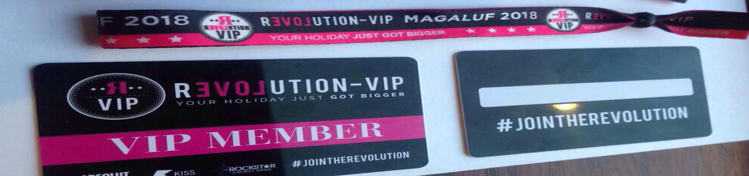 Revolution VIP wristband and card
