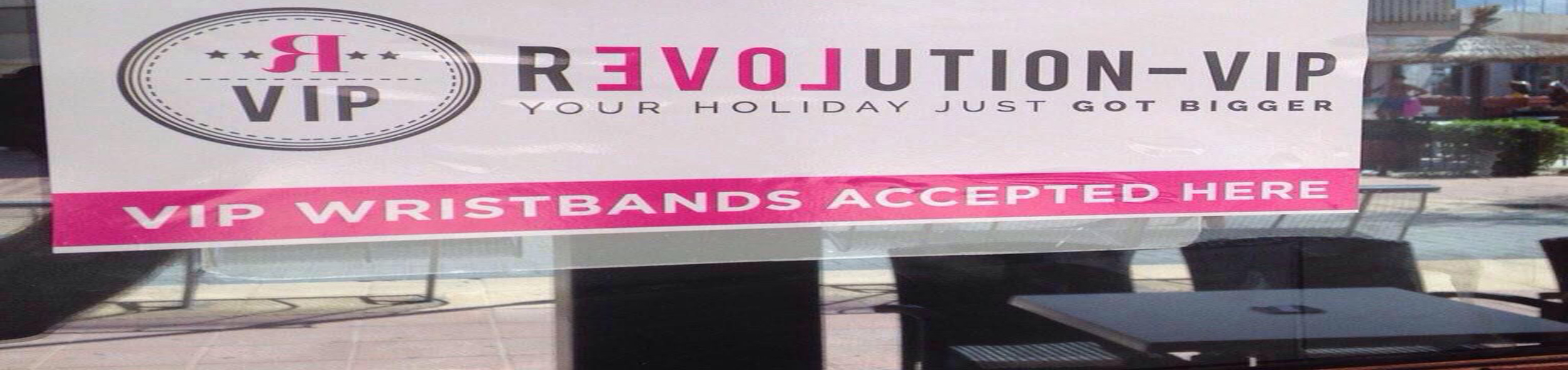 Revolution VIP sign in window