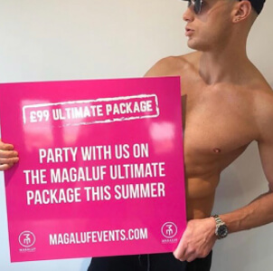 Magaluf events sign